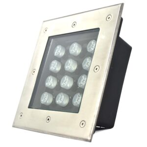 Underground LED Light, 12W, 12VDC, 6000K, 30� beam, Square 190*90mm, IP67, stainless steel with plastic template