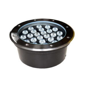 Underground LED Light, 24W, 24VDC, 4000K, 45� beam, D220*95mm, IP67, stainless steel with plastic template