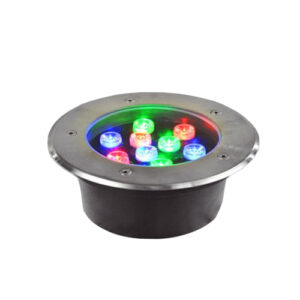 Underground LED Light, 9W, 24VAC, RGB, 30� beam, D180*95mm, IP67, stainless steel with plastic template