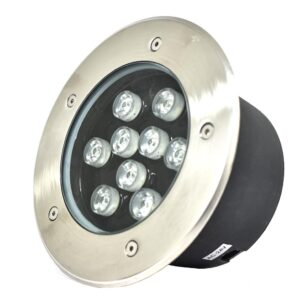 Underground LED Light, 9W, 24VAC, 6000K, 30� beam, D180*95mm, IP67, stainless steel with plastic template