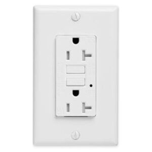 UL Listed Wall Socket Duplex Receptacle, 20A, 125V, Commercial Grade, Feed-Thru, Modular Terminals, Steel Strap, Reset Lockout mechanism, Surge Protection
