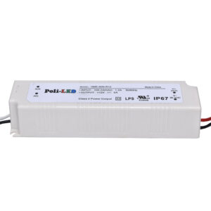 Outdoor PVC power supply 110V-240Vac to 12Vdc/60Watts/5A, Side 160x60x32, UL Listed