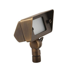 ? Solid Brass G4 Landscape Flood Light ? 12v ? 1 meter #18 cable ? 9 inches spike ? Adjustable angle ? G4 up to 50W (bulb not included) ? Dimensions 2.5 x 4 x 2 Body ? Spike 8.75 x 2.0 ? Frosted heat-resistant glass ? Solid brass construction ? IP65 ? 3 year warranty