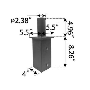 "Vertical Tenon Reducer, fits: 5"" square pole"