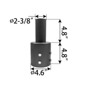 Vertical-Tenon-Reducer,-fits-4.6-inch-round-pole